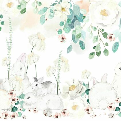 Why So Cute Floral mint + Rabbits
