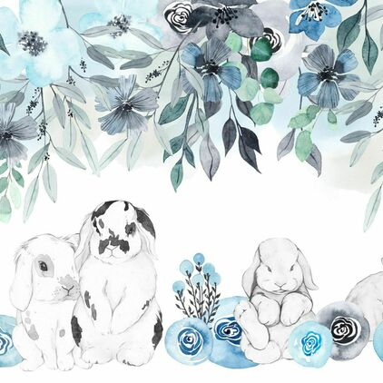 Why So Cute Floral blue + Rabbits